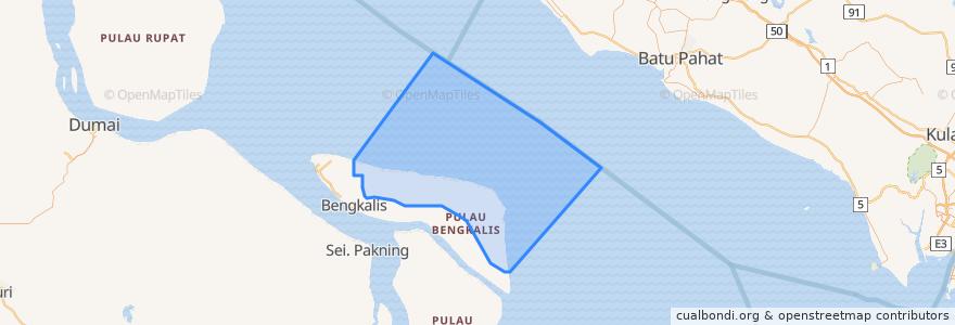 Mapa de ubicacion de Kecamatan Bantan.