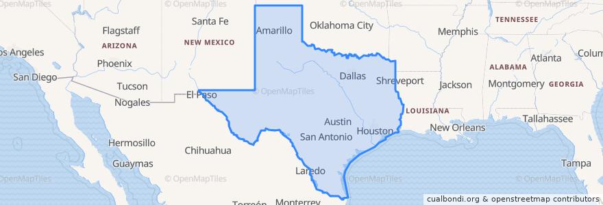 Mapa de ubicacion de Texas.