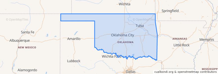 Mapa de ubicacion de Oklahoma.