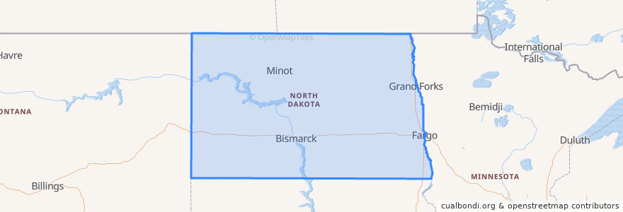 Mapa de ubicacion de North Dakota.