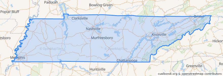 Mapa de ubicacion de Tennessee.