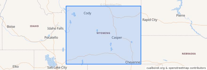 Mapa de ubicacion de Wyoming.