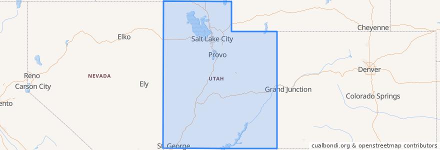 Mapa de ubicacion de Utah.