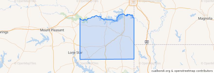 Mapa de ubicacion de Cass County.