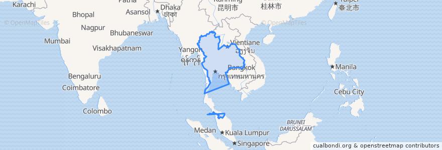 Mapa de ubicacion de ประเทศไทย.