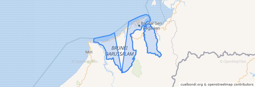 Mapa de ubicacion de Brunei.