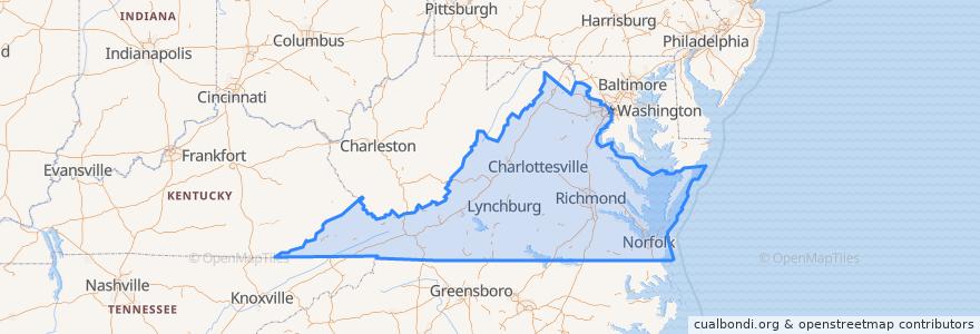Mapa de ubicacion de Virginia.