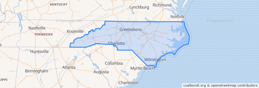 Mapa de ubicacion de North Carolina.