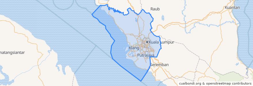 Mapa de ubicacion de Selangor.