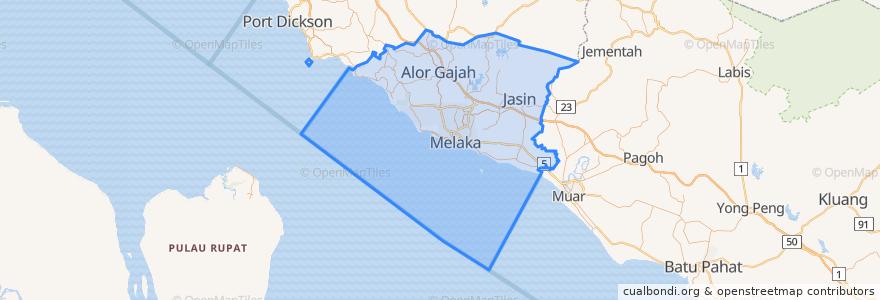Mapa de ubicacion de Melaka.