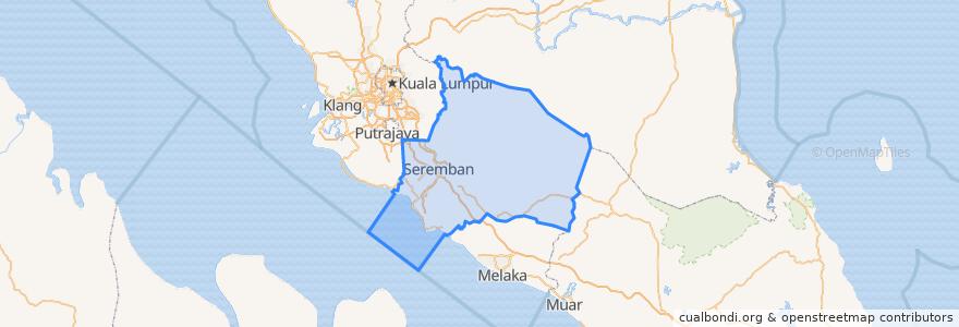 Mapa de ubicacion de Negeri Sembilan.