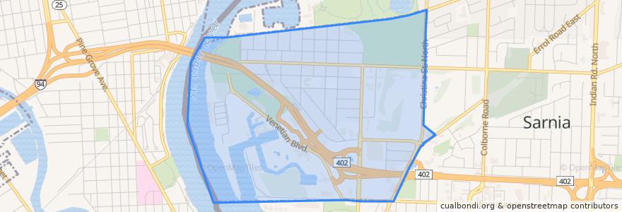 Mapa de ubicacion de Point Edward.