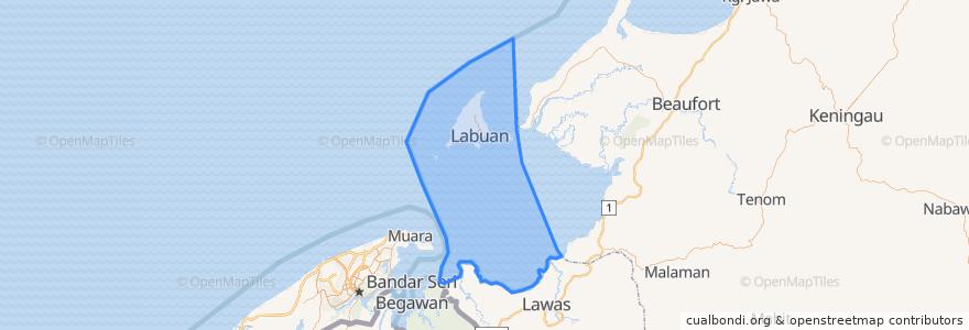 Mapa de ubicacion de Labuan.