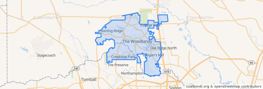 Mapa de ubicacion de The Woodlands.