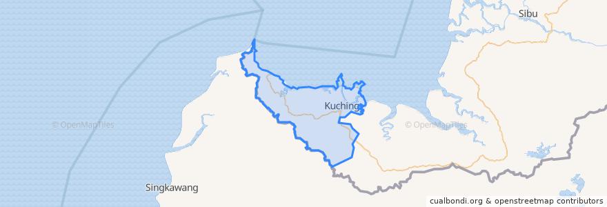 Mapa de ubicacion de Kuching Division.