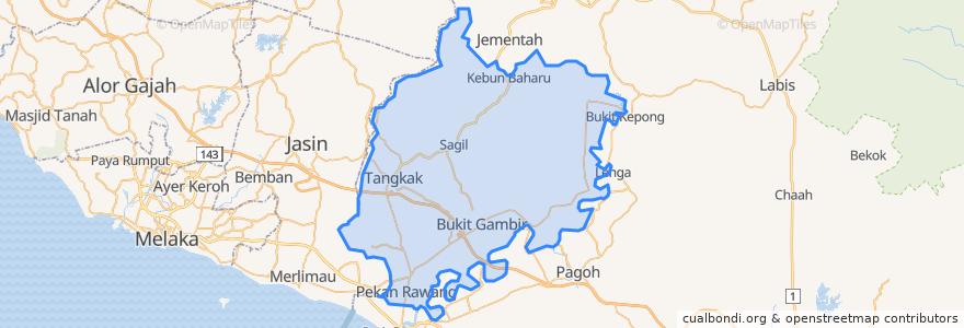 Mapa de ubicacion de Tangkak.