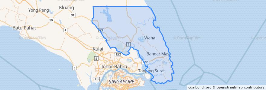 Mapa de ubicacion de Kota Tinggi.