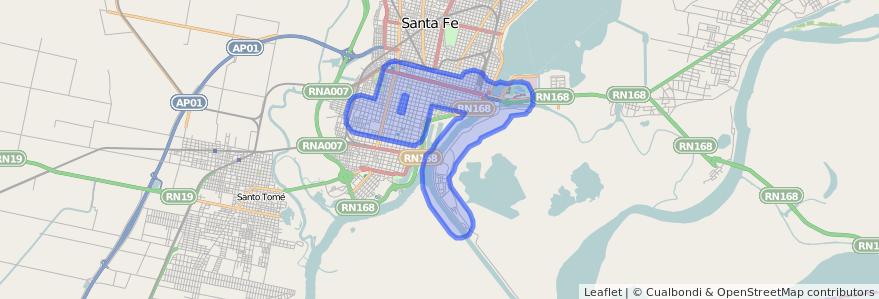 Cobertura de transporte público de la línea 13 en Santa Fe Capital.