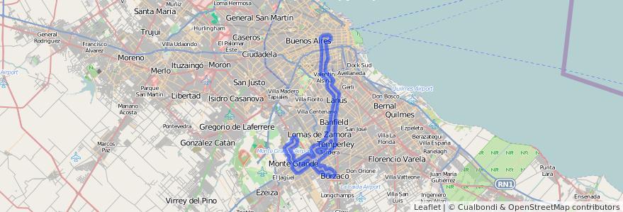 Cobertura de transporte público de la línea 165 en Buenos Aires.