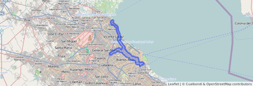Cobertura de transporte público de la línea 168 en Argentina.