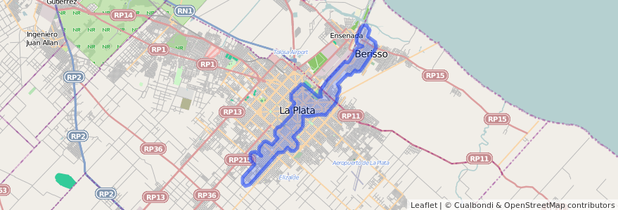 Cobertura de transporte público de la línea 214 en Buenos Aires.