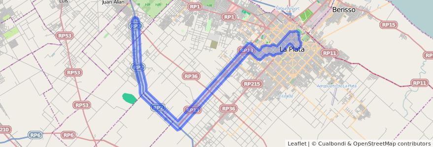 Cobertura de transporte público de la línea 215 en Partido de La Plata.