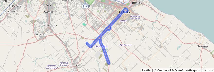 Cobertura de transporte público de la línea 225 en Partido de La Plata.