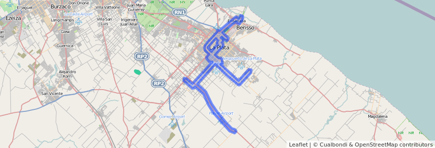 Cobertura de transporte público de la línea 307 en Partido de La Plata.