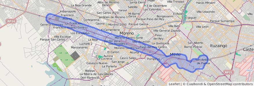 Cobertura de transporte público de la línea 327 en Buenos Aires.