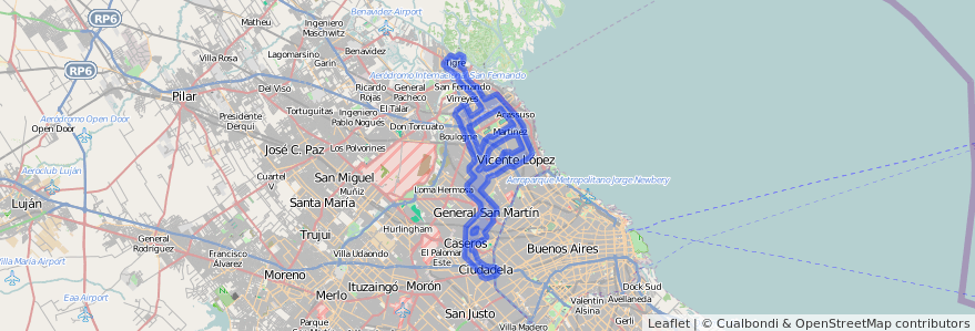 Cobertura de transporte público de la línea 343 en Buenos Aires.
