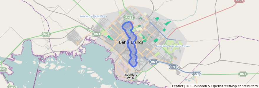 Cobertura de transporte público de la línea 502 en Bahía Blanca.