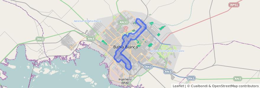 Cobertura de transporte público de la línea 503 en Bahía Blanca.
