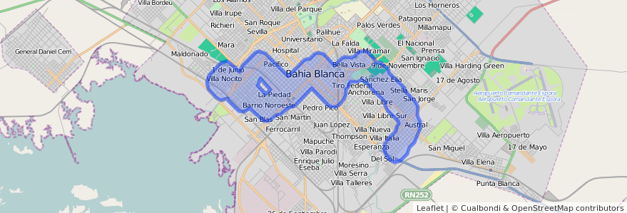 Cobertura de transporte público de la línea 506 en Bahía Blanca.
