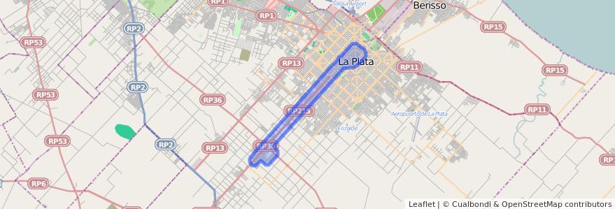 Cobertura de transporte público de la línea 508 en Partido de La Plata.
