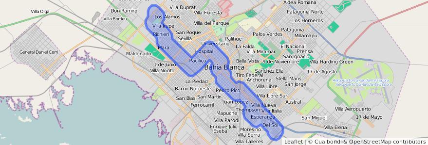 Cobertura de transporte público de la línea 512 en Bahía Blanca.