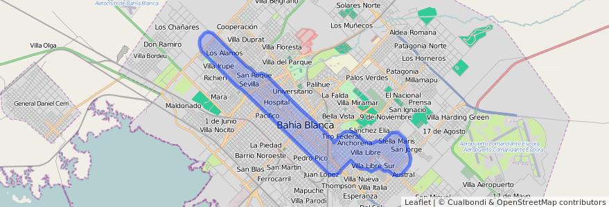 Cobertura de transporte público de la línea 513 en Bahía Blanca.