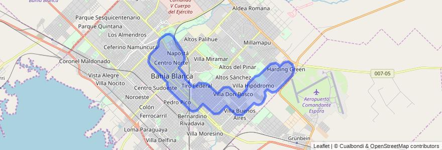 Cobertura de transporte público de la línea 513EX en Bahía Blanca.
