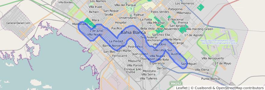 Cobertura de transporte público de la línea 514 en Bahía Blanca.