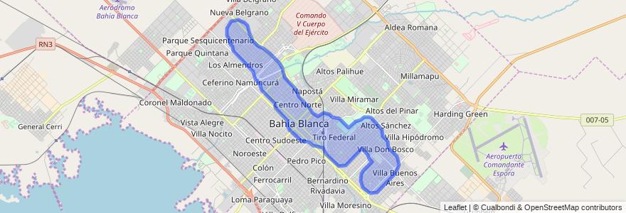 Cobertura de transporte público de la línea 516 en Bahía Blanca.