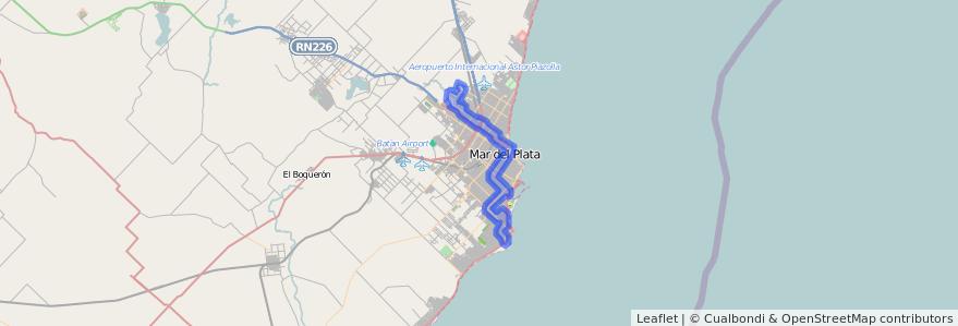 Cobertura de transporte público de la línea 522 en Mar del Plata.