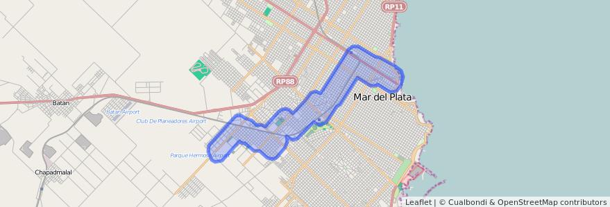 Cobertura de transporte público de la línea 525 en Mar del Plata.