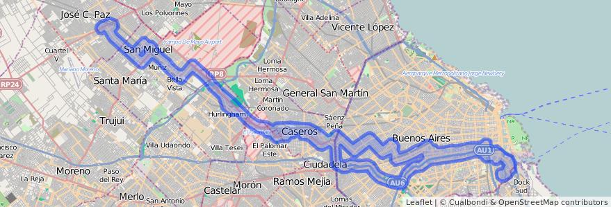 Cobertura de transporte público de la línea 53 en Argentina.