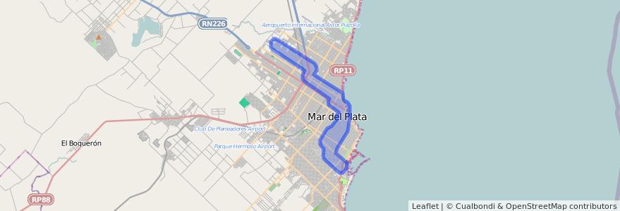 Cobertura de transporte público de la línea 533 en Mar del Plata.