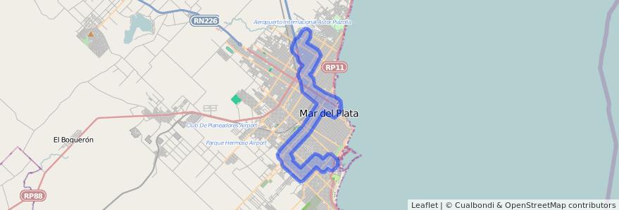 Cobertura de transporte público de la línea 552 en Mar del Plata.