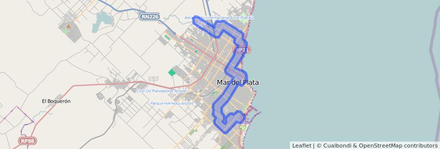 Cobertura de transporte público de la línea 553 en Mar del Plata.