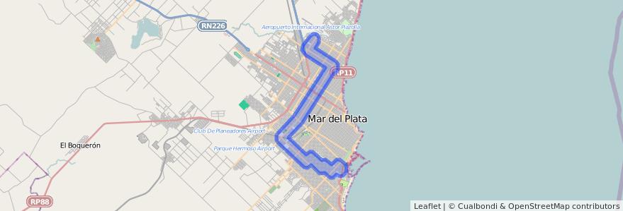 Cobertura de transporte público de la línea 554 en Mar del Plata.