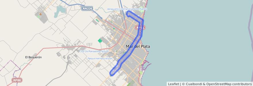 Cobertura de transporte público de la línea 555 en Mar del Plata.