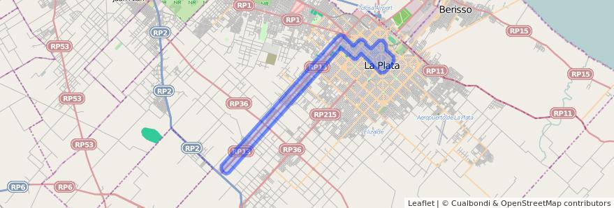 Cobertura de transporte público de la línea 561 en Partido de La Plata.