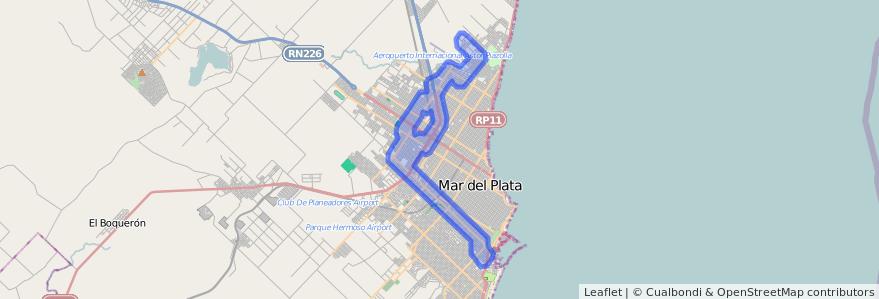 Cobertura de transporte público de la línea 563 en Mar del Plata.