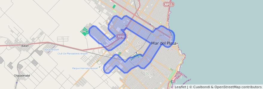 Cobertura de transporte público de la línea 572 en Mar del Plata.